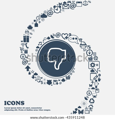 Dislike icon sign in the center. Around the many beautiful symbols twisted in a spiral. You can use each separately for your design. Vector illustration - stock vector