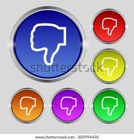 Dislike icon sign. Round symbol on bright colourful buttons. Vector illustration - stock vector