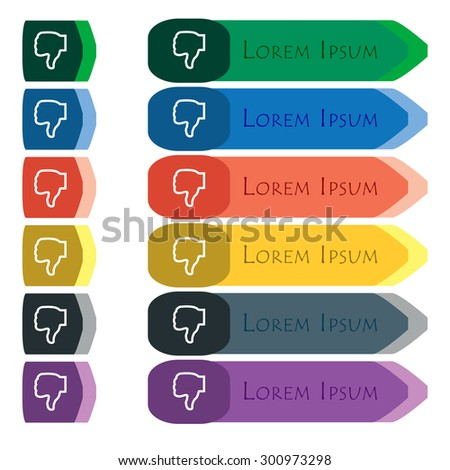 Dislike icon sign. Set of colorful, bright long buttons with additional small modules. Flat design. Vector - stock vector