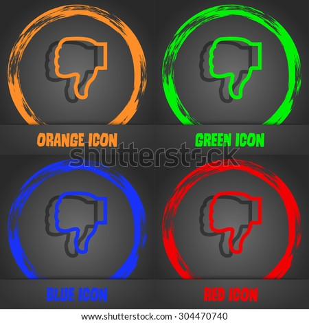 Dislike icon symbol. Fashionable modern style. In the orange, green, blue, green design. Vector illustration - stock vector