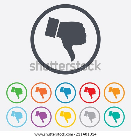 Dislike sign icon. Thumb down sign. Hand finger down symbol. Round circle buttons with frame. Vector - stock vector