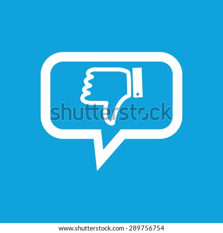 Dislike symbol in chat bubble, isolated on blue - stock vector