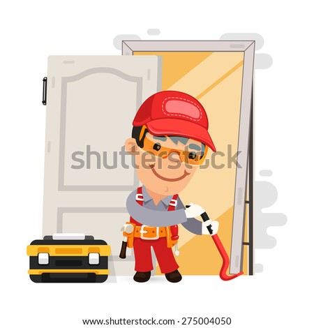 Dismantling the Old Door. Isolated on white background. - stock vector