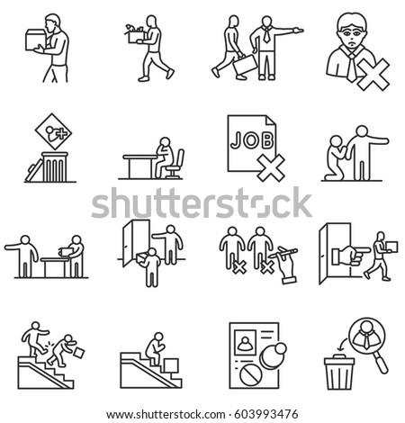Dismissal Work Icons Set Termination Employment Stock Vector