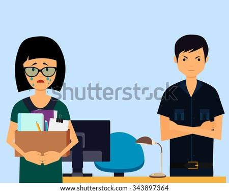 Dismissed. Sad woman and angry boss in office. Vector illustration - stock vector