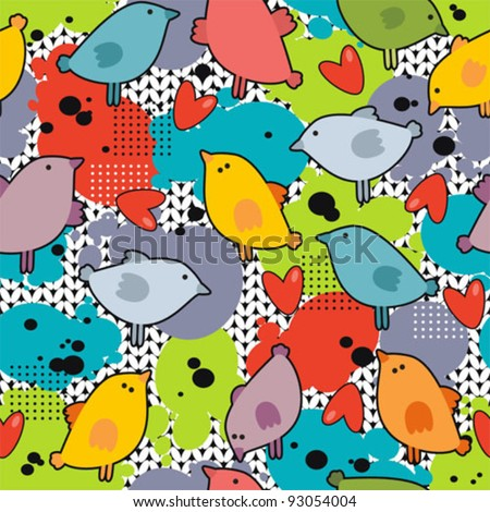 Disorder with cute birds and colorful blur. Vector seamless background. - stock vector
