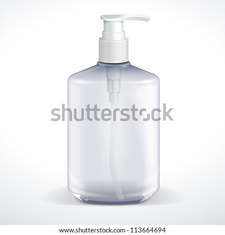 Dispenser Pump Cosmetic Or Hygiene Grayscale, Glass Bottle Of Gel, Liquid Soap, Lotion, Cream, Shampoo. Vector EPS10 - stock vector