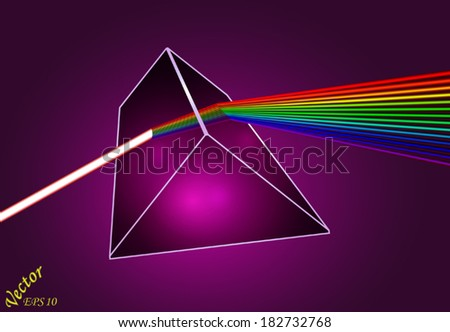 Dispersion of light by glass prism  - stock vector