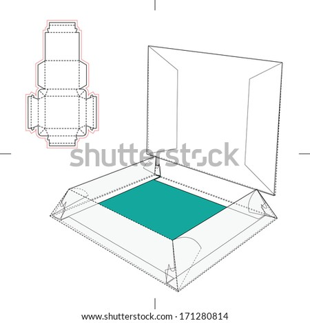 Display Box with Blueprint Layout Icon - stock vector