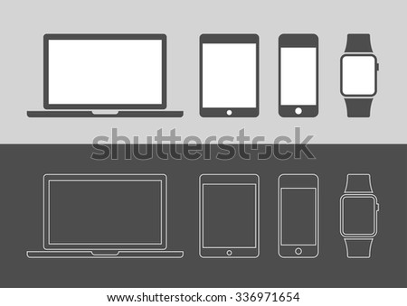 Display Devices Icons - stock vector