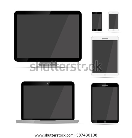 Display, laptop, tablets and phones mockups templates isolated on white - stock vector