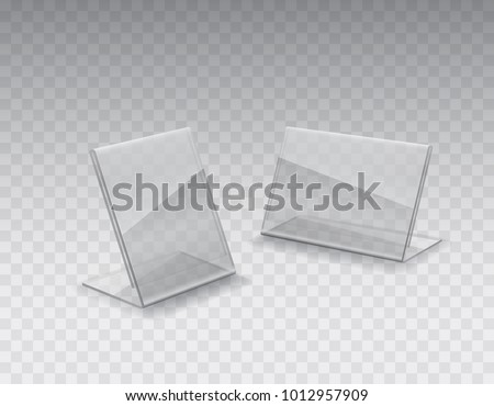 Display stand or acrylic table tent card holder isolated on transparent background. Vector empty & Display Stand Acrylic Table Tent Card Stock Vector 1012957909 ...
