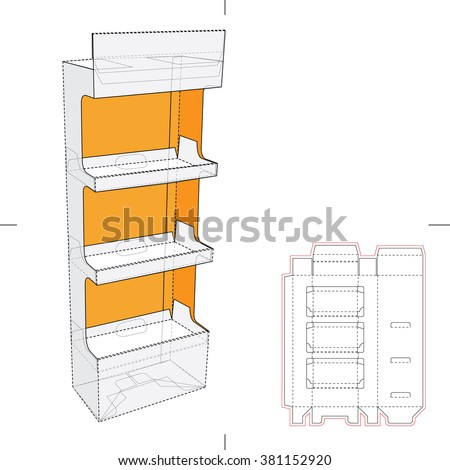 Display Stand Shelf with Blueprint Layout - stock vector