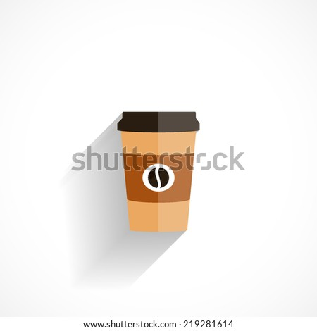 Disposable coffee cup, flat icon isolated on white background - stock vector