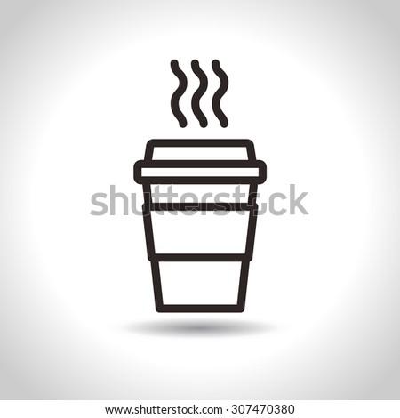 Disposable Coffee Cup Icon. Vector, flat design - stock vector