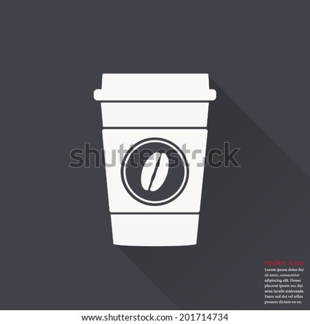 Disposable coffee cup icon with coffee beans logo, Vector illustration flat design with long shadow - stock vector