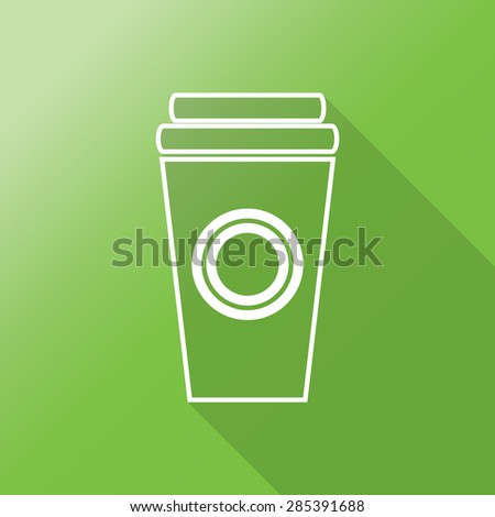 Disposable coffee cup icon with Vector illustration flat design with long shadow - stock vector