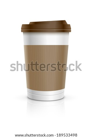 Disposable coffee cup. Vector illustration. - stock vector