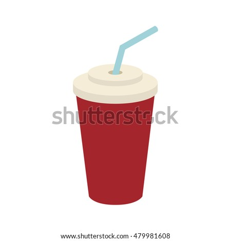 disposable cup with drinking straw