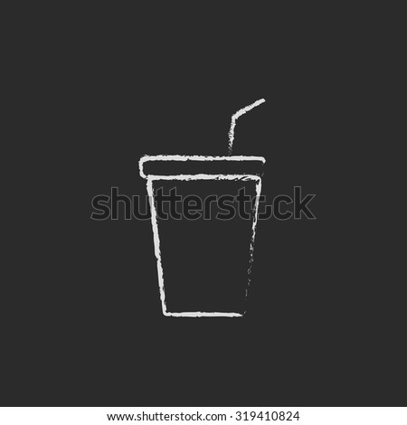 Disposable cup with lid and drinking straw hand drawn in chalk on a blackboard vector white icon isolated on a black background. - stock vector