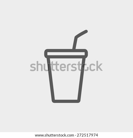 Disposable cup with lid and straw icon thin line for web and mobile, modern minimalistic flat design. Vector dark grey icon on light grey background. - stock vector