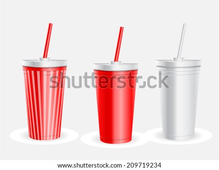 disposable cups with lids and straws - stock vector