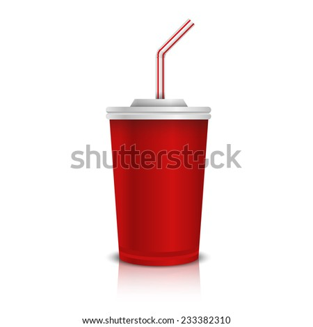 Disposable Paper Cup With Lid And Straw. - stock vector