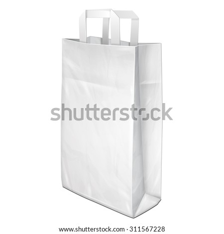 Disposable Paper Or Plastic Shopping Bag With Handles Package Grayscale White. Illustration Isolated On White Background. Mock Up Template Ready For Your Design. Product Packing Vector EPS10 - stock vector