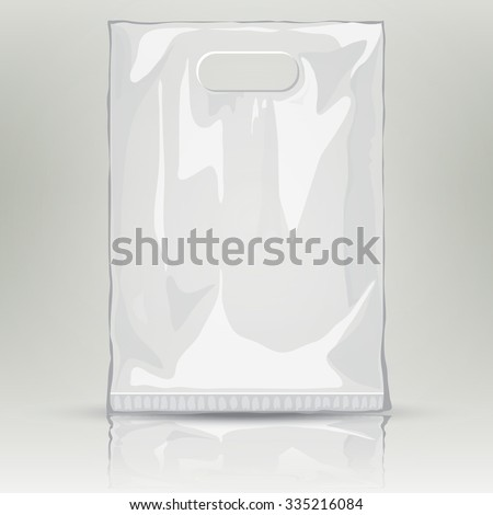 Disposable Plastic Bag. Mock up template of empty plastic container. Vector nylon bag illustration. Blank plastic pocket bag with place for your design and branding - stock vector