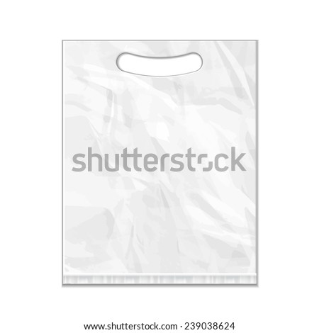 Disposable Plastic Bag Package Grayscale Template. Mock Up Template Ready For Your Design. Product Packing Vector EPS10. Isolated. - stock vector