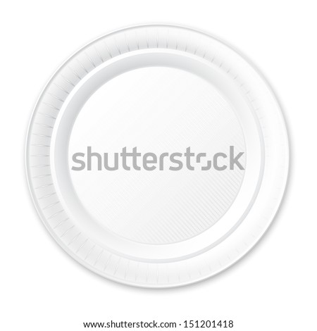 Disposable Plastic Plate. Isolated on White. Vector Illustration.