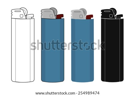 Disposable pocket gas lighters icons set. Contour, color, black silhouette. Vector clip art illustrations isolate on white  - stock vector
