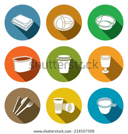 Disposable tableware flat Icons - stock vector