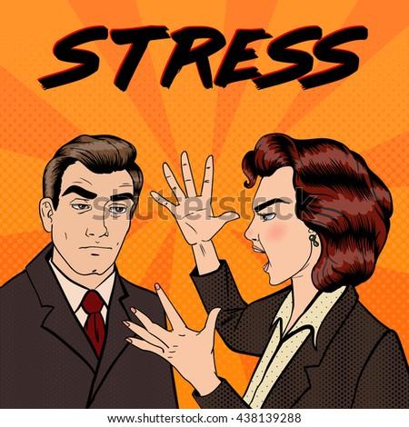 Dispute Between Man and Woman. Family Conflict. Bad Relationships. Pop Art. Vector illustration - stock vector