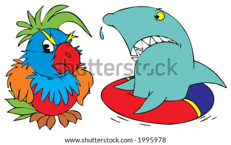 Dissatisfied parrot and shark
