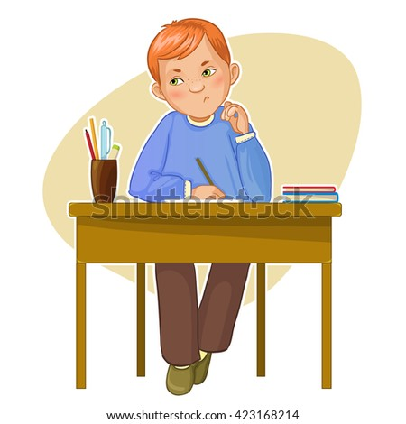 Dissatisfied small boy during his studying sitting at the desk, eps10