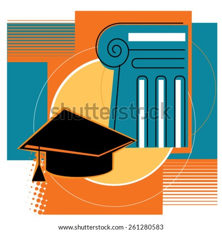 distance education and online learning flat design concept illustration