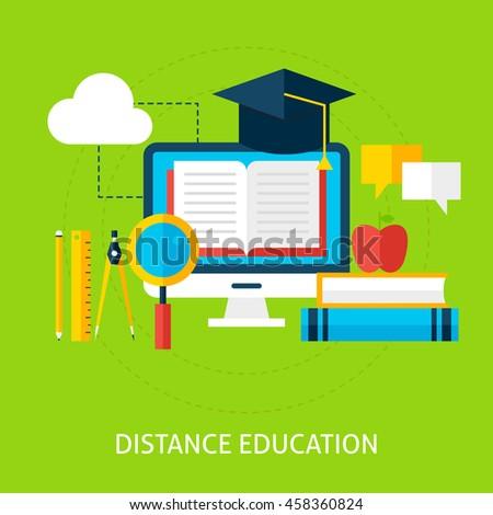 Online Education Concept Flat Design Vector Stock Vector 441180007 ...