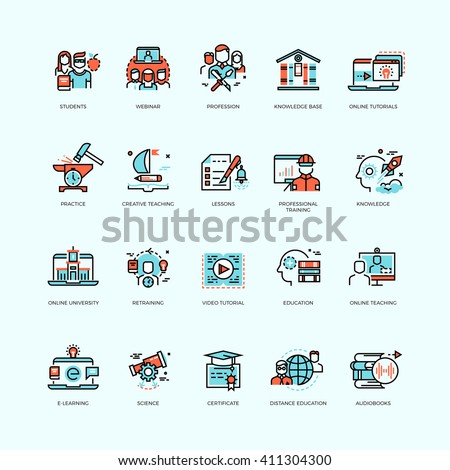 Distance education, online tutorials and courses, video training, staff training, digital library vector icons. Course education, technology education internet, e-learning ducation illustration - stock vector