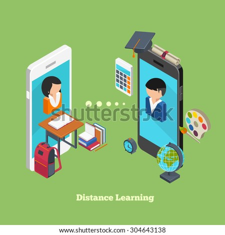 Distance online learning concept. Students avatars on smartphones displays - stock vector