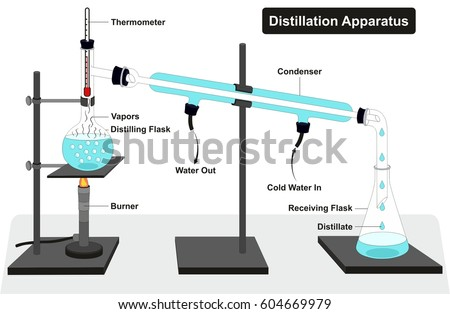 Distillation Apparatus Diagram Full Process Lab Stock Vector Hd