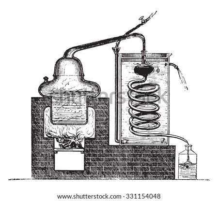 Distilling Apparatus, vintage engraved illustration. - stock vector