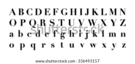 Distorted lines font vector illustration.
