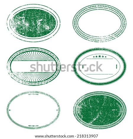 Distress Stamp Set Of Green Color, For Your Design. EPS10 vector.