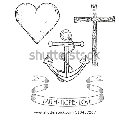 Distressed Collection Symbols Faith Hope Love Stock Vector 2018