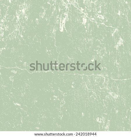 Distressed Cracked Plaster Texture in green grey color. EPS10 vector. - stock vector