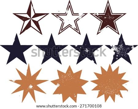 Distressed Grunge Star Design Elements - stock vector