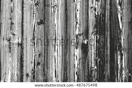 Distressed overlay wooden bark texture, grunge vector background.