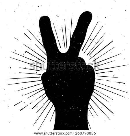 Distressed Peace Sign Silhouette Grunge Template Stock Vector ...