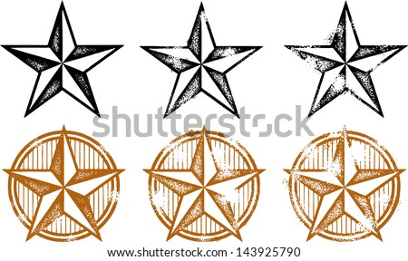 Distressed Western Stars Design Elements - stock vector